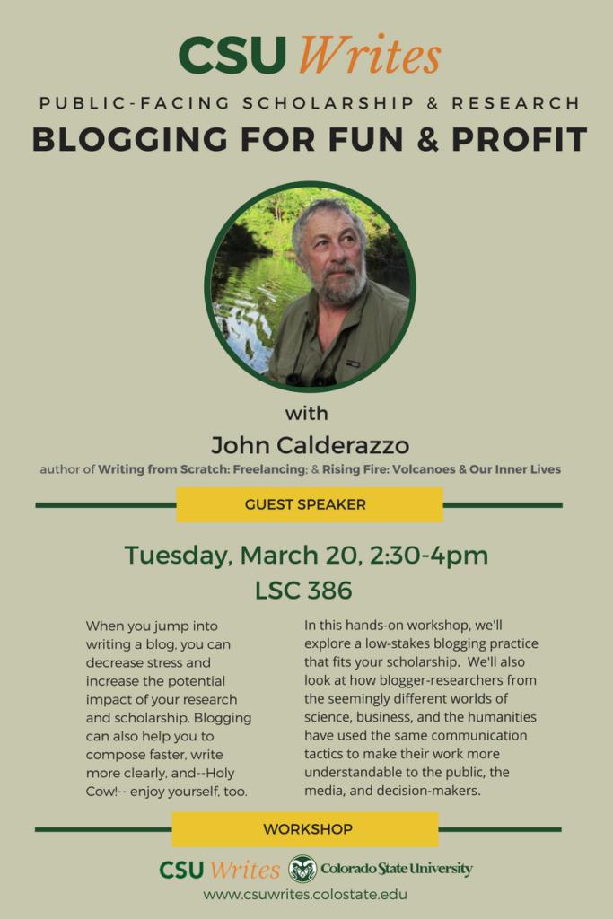 John Calderazzo event poster